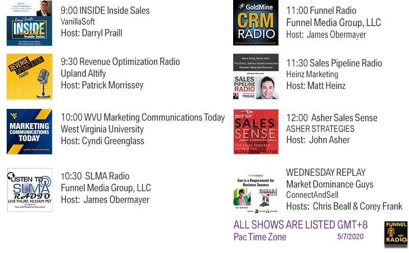 INSIDE Inside Sales, Revenue Optimization Radio, WVU MC Today, SLMA Radio, CRM Radio, Sales Pipeline Radio, Asher Sales Sense