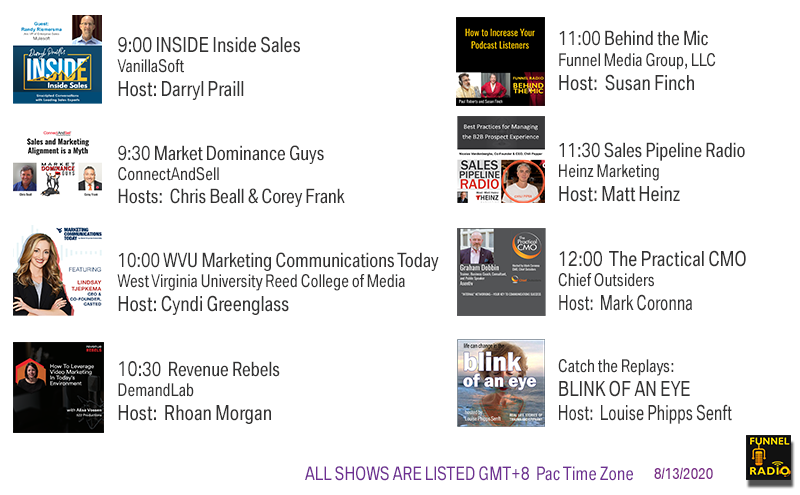 VanillaSoft, ConnectAndSell, UncommonPro, WVU, DemandLab, Funnel Media Group, Heinz Marketing, Chief Outsiders