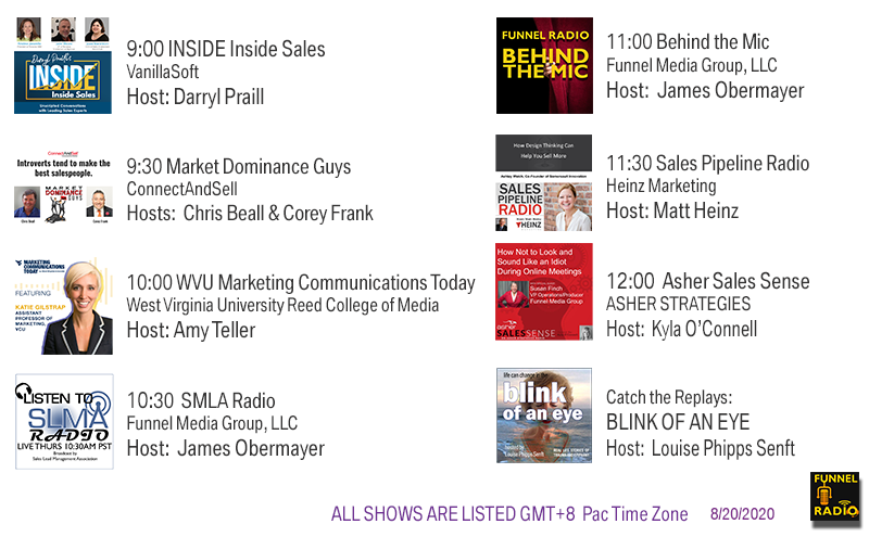 VanillaSoft, ConnectAndSell, UncommonPro, WVU Reed College of Media, Heinz Marketing, ASHER Strategies, Funnel Media Group