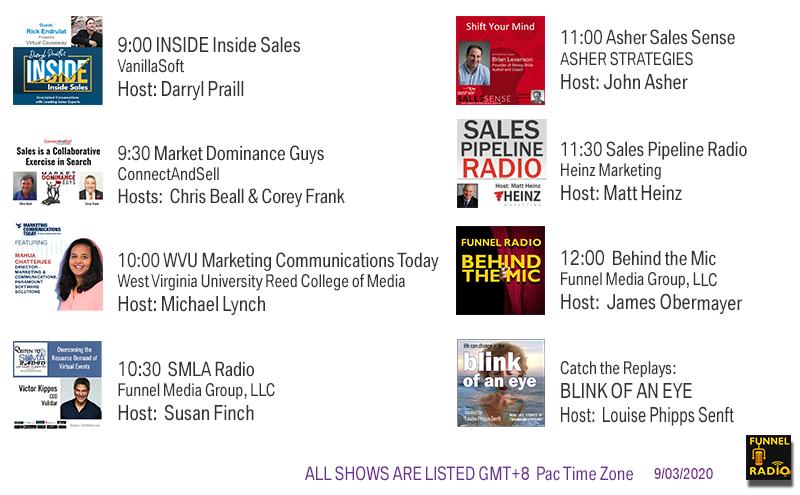 VanillaSoft, ConnectAndSell, UncommonPro, WVU, Funnel Media Group, Asher Strategies, Heinz Marketing