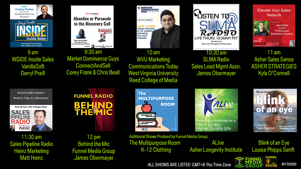 VanillaSoft, Asher Strategies, ConnectAndSell, uncommonpro, Heinz Marketing, West Virginia University, Funnel Media Group